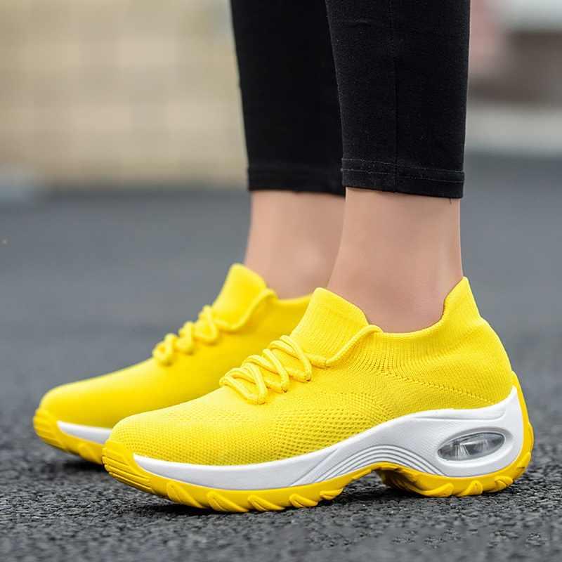 טריזי נעלי נשים צהוב סניקרס נוחות גבירותיי מאמני נשים נעליים יומיומיות פלטפורמת נעליים בתוספת גודל Chaussures Femme