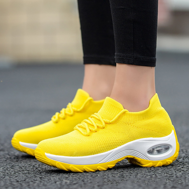 Wedges Shoes For Women Yellow Sneakers Comfort Ladies Trainers Women Casual Shoes Platform Shoes Plus Size Chaussures Femme