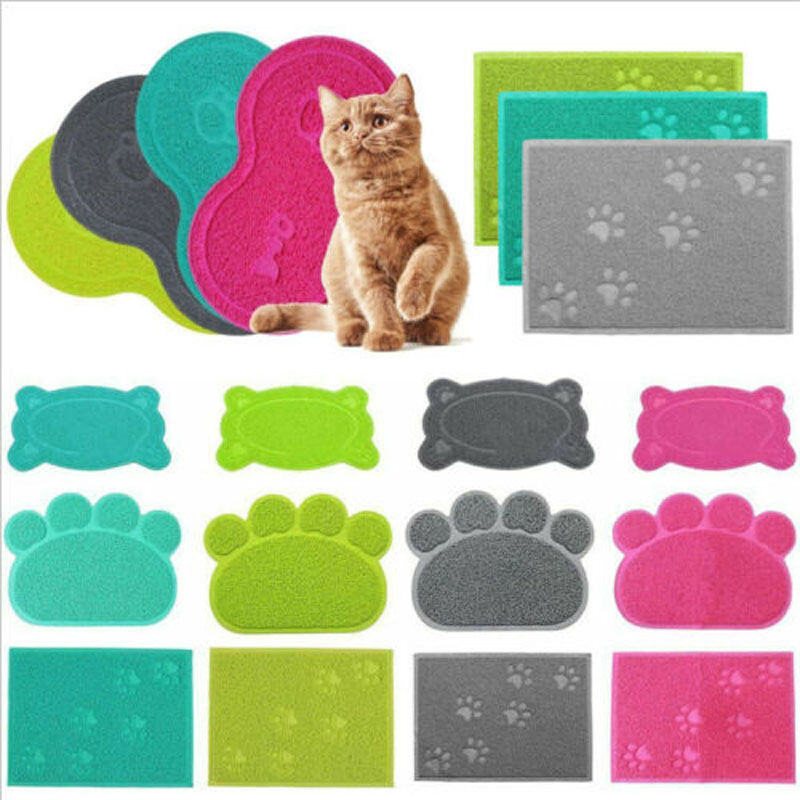 Pet Dog Puppy Cat Feeding Mat Pad Cute PVC Bed Dish Bowl Food Feed Placement  Water Bottle