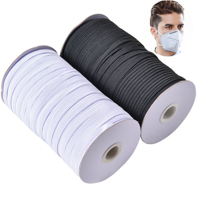 1 Roll Masks Elastic Bands 3mm 6mm 8/10/12mm White Black Nylon Rubber Band Waist Band Garment Sewing Accessories DIY Mask Craft(China)