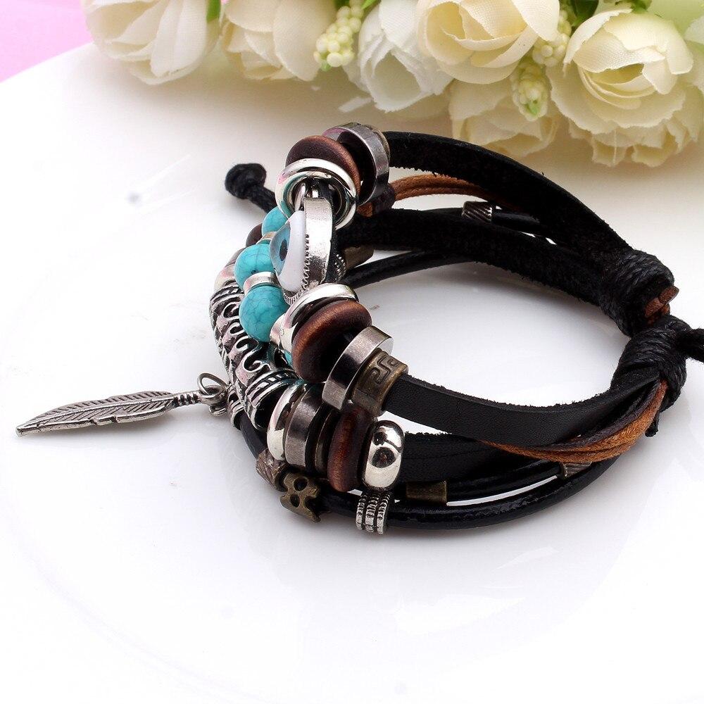 Evil Eye Bracelet For Women Men Multi-layer Handmade leather Bead Bracelets bohemia Jewelry Evil Eye charm bracelet Sale Priced!