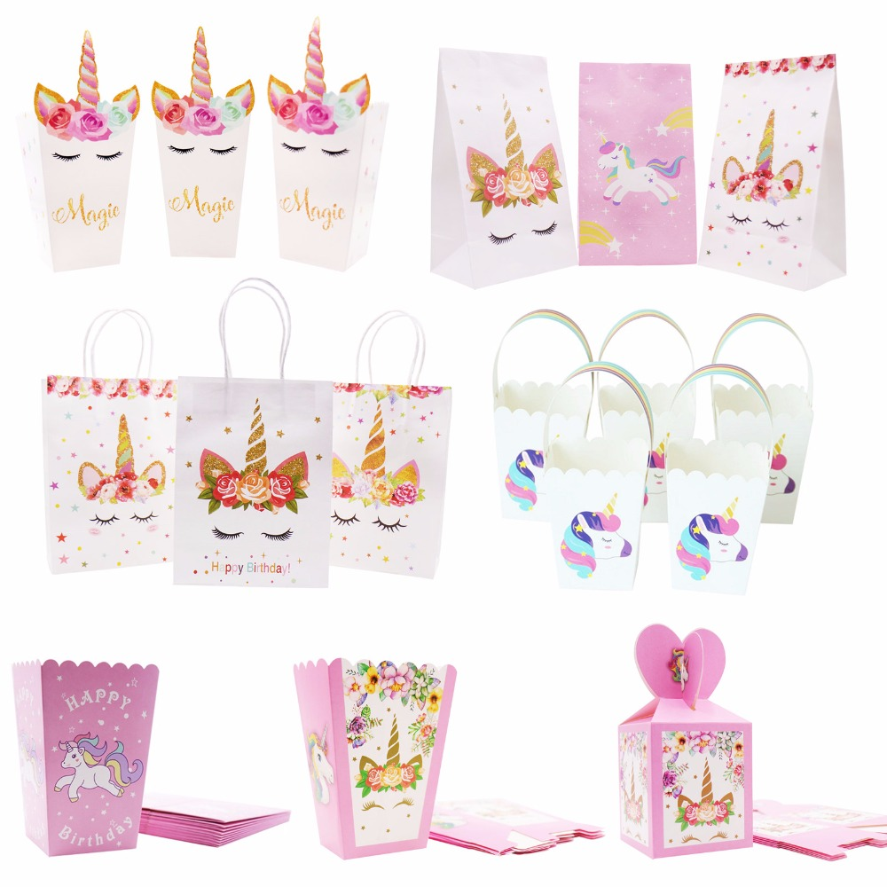 Unicorn Paper Candy Box Bags With Handles Kraft Paper Gift Bag Popcorn Box Baby Shower Wedding Decor Birthday Party Supplies