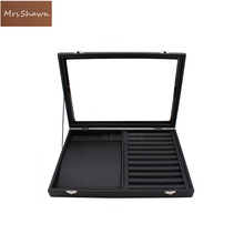 Mrs.Shawn Big PU Black Carrying Case with Glass Cover Jewelry Ring Display Box Tray Holder Storage Box Organizer Earrings Ring B