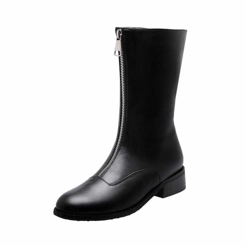 Kış yeni moda yuvarlak kafa kalın topuk öğrenci ön fermuar eğlence artı kadife sıcak tutmak yüksek topuk kadın botları boyutu 34-46