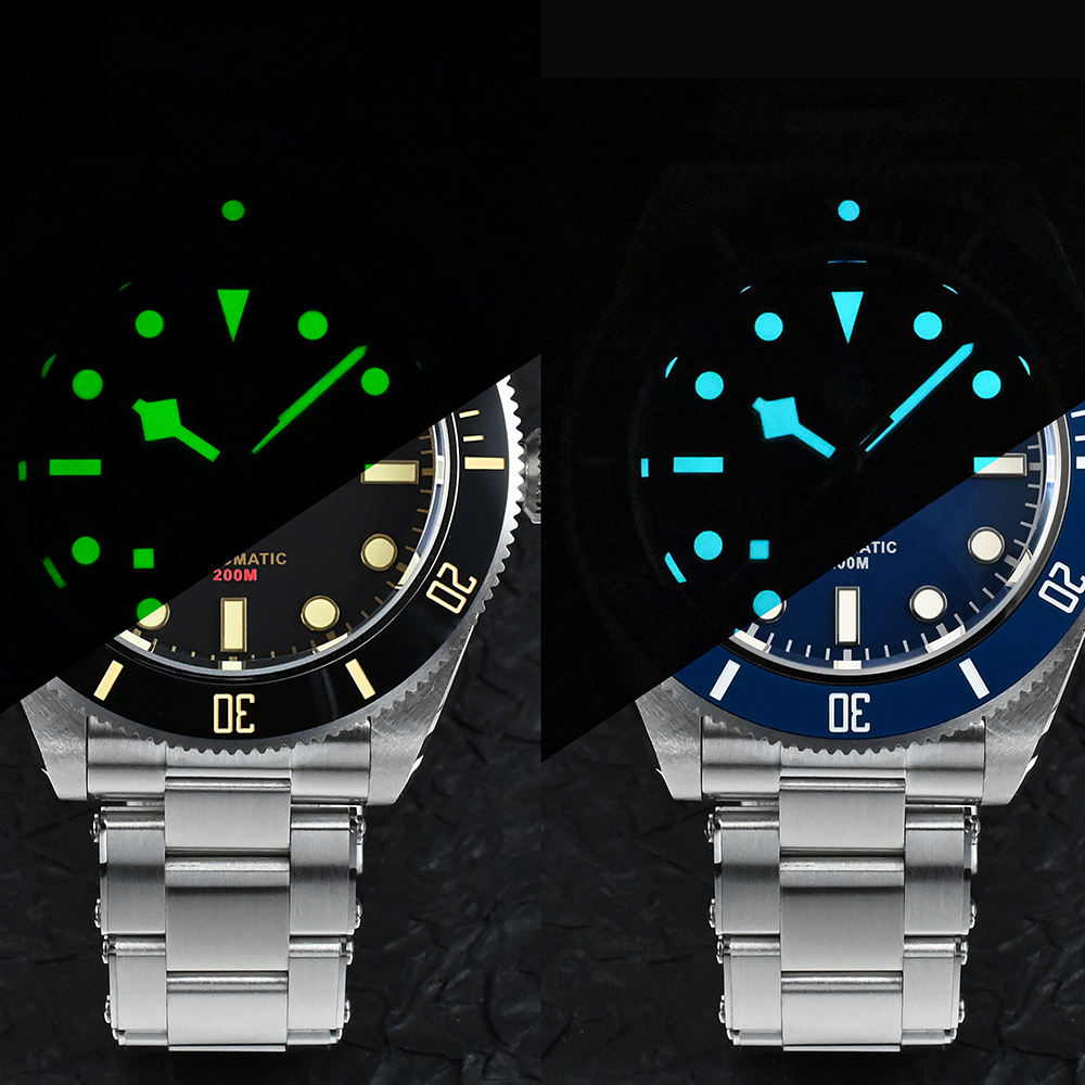 San Martin Men Watch 40mm Diver BB58 Retro Luxury Water Ghost PT5000 SW200 Rivet Bracelet Sapphire 20Bar Waterproof Luminous 6
