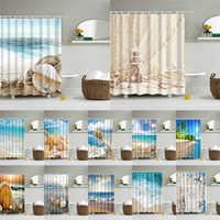 Cortina de ducha de playa seascape, cortina de ducha de baño, cortina de ducha de tela 3D, cortina de ducha impermeable, cortina de ducha