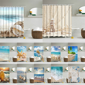 Seascape prysznic na plaży zasłony łazienka zasłona prysznicowa tkanina 3D zasłona prysznicowa wodoodporny prysznic kurtyna cortina de ducha tanie i dobre opinie show curtains Europa Ekologiczne Zaopatrzony Scenic Poliester