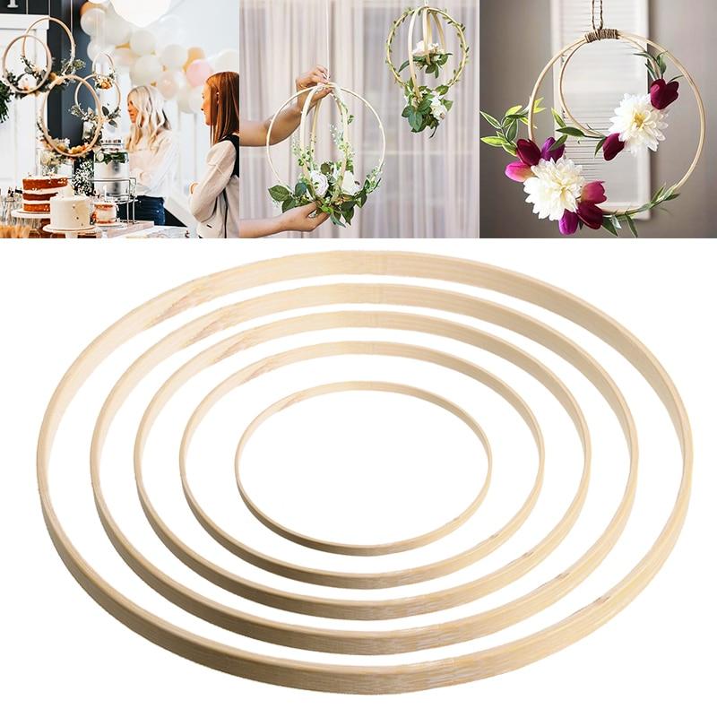 Универсальное декоративное бамбуковое кольцо, «сделай сам», материал ручной работы для цветочного венка, Ловца снов, Свадебный декор, кругл...