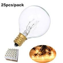 25 pçs string bulbo de luz incandescente de tungstênio lâmpada e12 base soquete titular bulbo para string luz festa decoração para casa