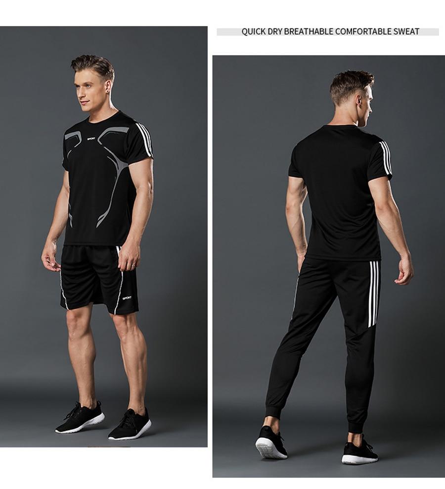 Brand Men's Sportswear Kit Short Sleeve Sports Sport Shirt Men Running 2pcs Suit For Soccer Gym Fitness Men T-Shirts+Shorts Sets 5