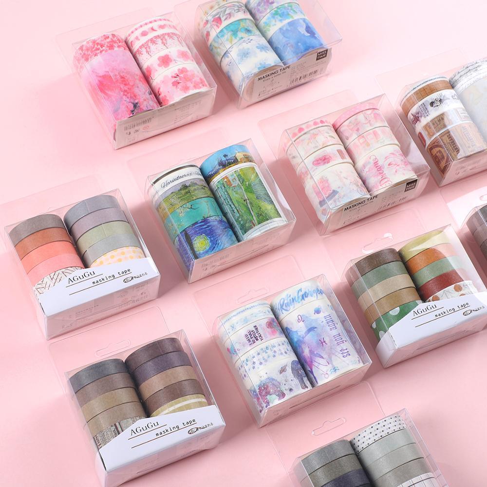 JIANWU 7pcs Or 10pcs/set Cute Basic Color Washi Tape Scrapbook DIY  Masking Tape School Stationery Store Journal Supplies