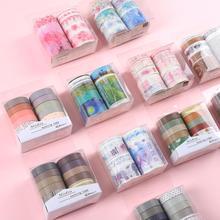 JIANWU rubans Washi couleur de base mignons pour Scrapbook, rubans de masquage pour bricolage, papeterie scolaire, fournitures de journaux 7 pièces ou 10 pièces/ensemble