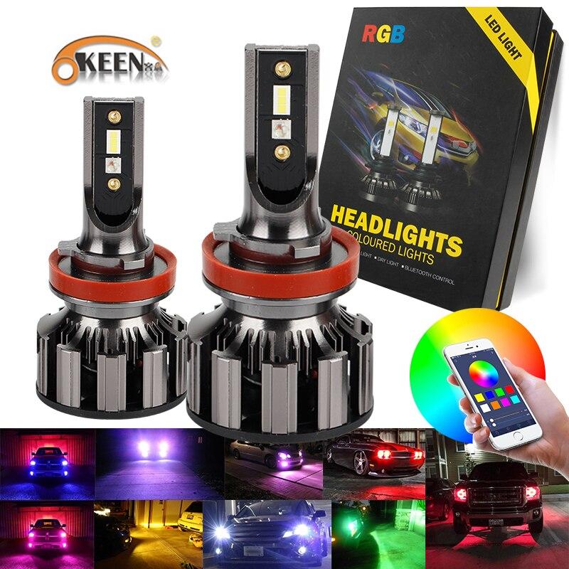 2 pièces APPLICATION Bluetooth Contrôle RVB Voiture phare LED Couleur Changeante Lumière H1 H3 H8 H9 H11 9005 9006 Lampe Frontale automatique H4 LED H7 Ampoules