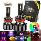 2 pièces APPLICATION Bluetooth Contrôle RVB Voiture phare LED Couleur Changeante Lumière H1 H3 H8 H9 H11 9005 9006 Lampe Frontale automatique H4 LED H7 Ampoules - 1