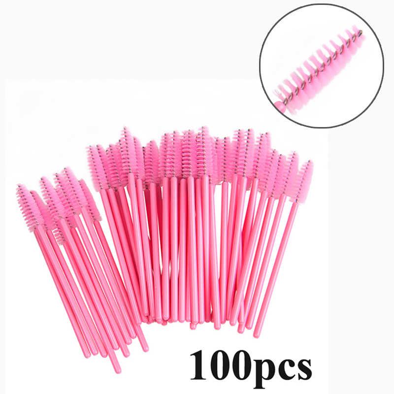 100 Pcs Wimper Borstel Wegwerp Voor Wimper Extension Eye Lash Wimper Makup Borstel Mini Mascara Wands Brush Tool