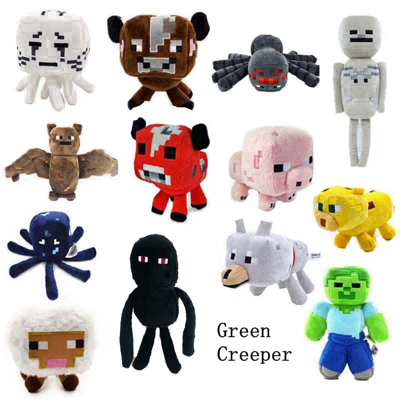 Game Sandbox Creature Zombie Doll Creeper Spider Sheep Slime Skeleton Ghast Enderman Chicken Snow Golem Squid Stuffed Plush Toy-in Movies & TV from Toys & Hobbies