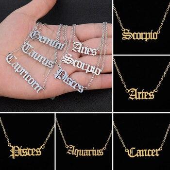 Naszyjniki zodiaku dla kobiet personalizuj biżuteria gwiazdka znak 12 konstelacja stara angielska litera Taurus ryby baran naszyjnik prezent