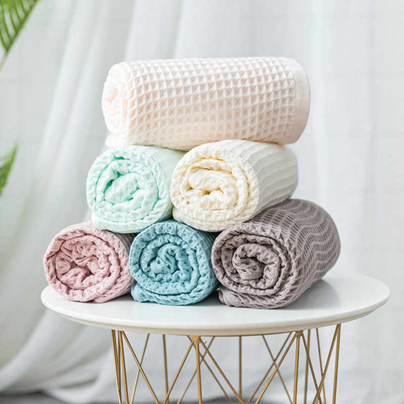 Cotton Waffle Towel Blanket for Bed Soft Throws For Kids Teens Lightweight Bedspread Back To School 70x140cm
