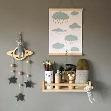 Скандинавский стиль деревянное облако луна детская комната украшение