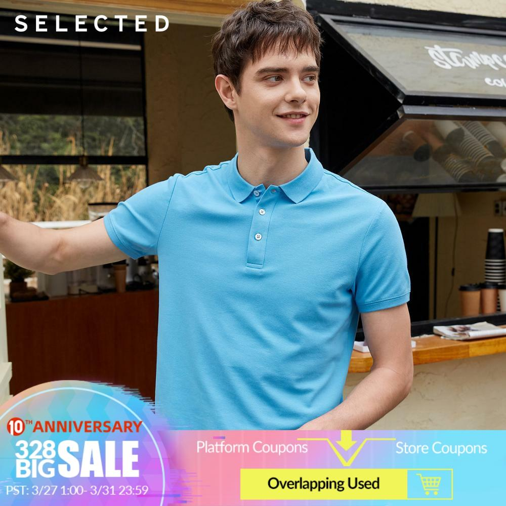 SELECTED Men's Pure Color Turn-down Collar Short-sleeved Poloshirt C|419206554