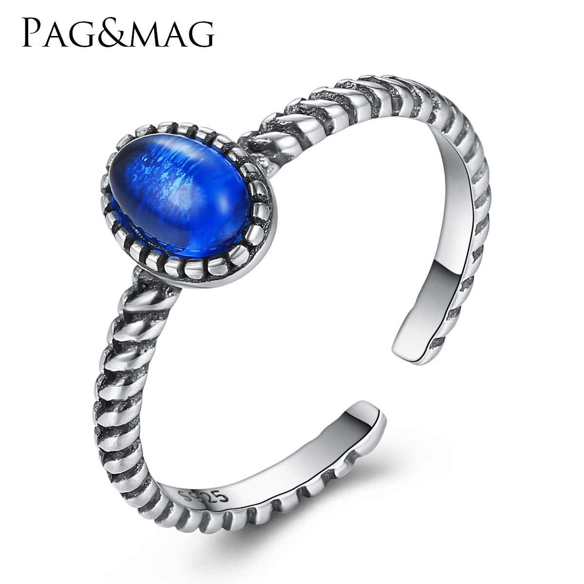 PAG-MAG Europe and the United States S925 Thai Silver Ring women set natural synthetic crystal new ring(China)
