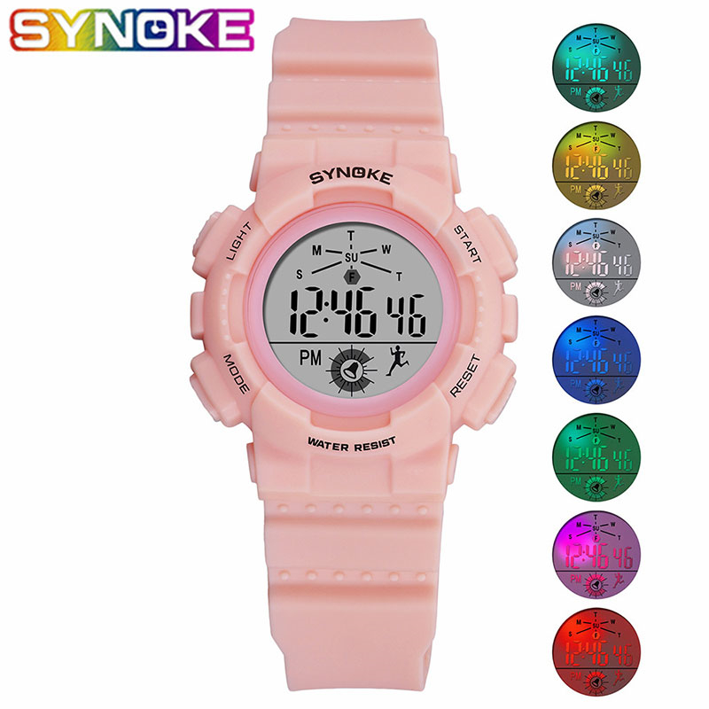 Outdoor Running Waterproof Children's Watch Top Quality SYNOKE Digital Student Wrist Watches Led Colorful Lights Kid Alarm Clock