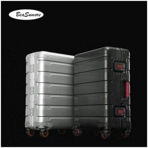 Image 3 - BeaSumore roue valise pour hommes, 100%, style rétro en alliage daluminium, chariot à grande capacité 20/24 pouces