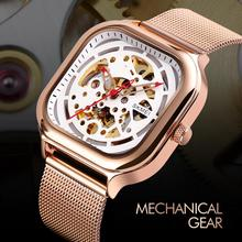 SKMEI Mechanical Watch Skeleton Men's Watches Stainless Stee