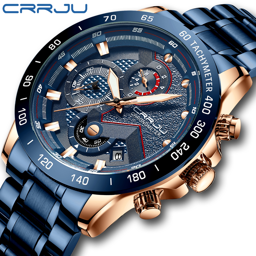 CRRJU Men Watch Top Brand Big Dial Sport Watches Men's Luxury Quartz Wristwatch Chronograph Male Blue Watches Relogio Masculino