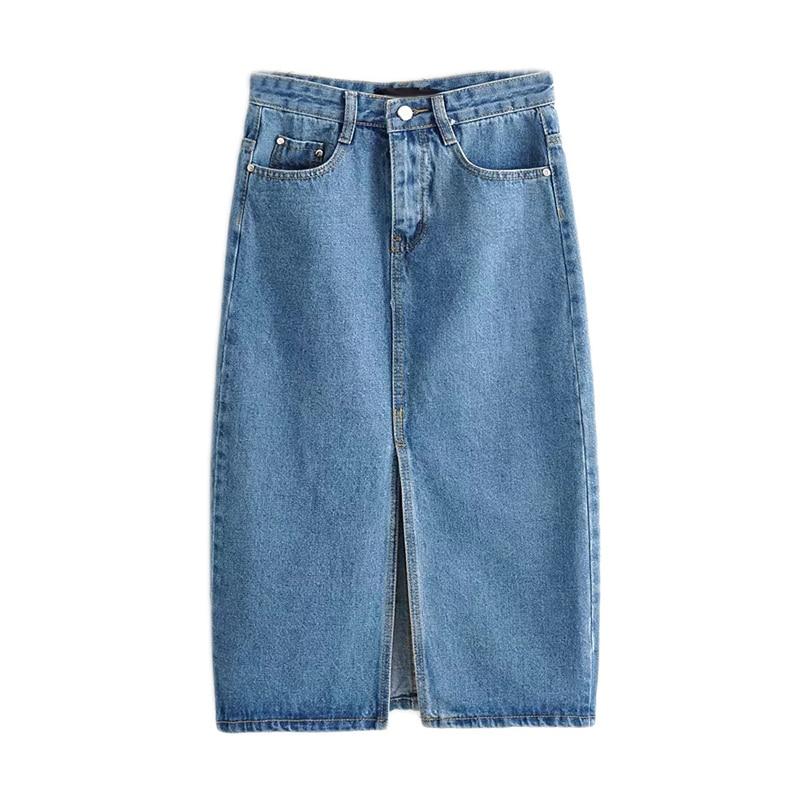 Women Black Denim Skirts Vintage Ladies Midi Skirt Fashion Casual Brand Feminina Midi Calf Length Saias Faldas