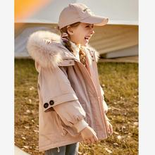 Girls Down jackets 2019 New thicker warm hooded children outerwear real fur collar coats modis kids winter jackets Y2373