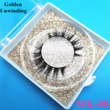 Golden Unwinding MK-08 makeup lash short mink eyelashes custom box 8-15mm natural long false eyelashes 3d mink lashes vendor