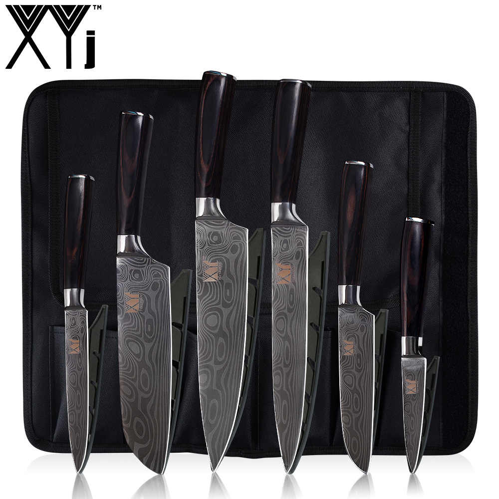 XYj Damascus Pattern Satinless Steel Kitchen Knife Set 6-piece Damascus Veins Cooking Cleaver & Multifunction Knife Bag Storage