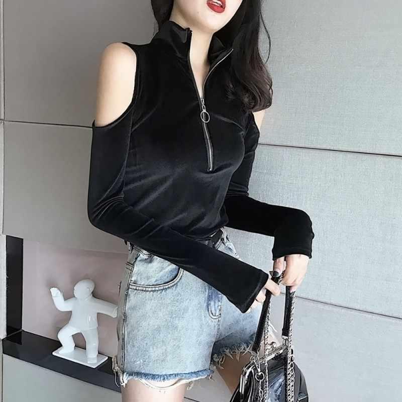 2019 Wanita Zip Up Gothic T Kemeja Warna Solid Slim Lengan Panjang Setengah Kerah Tinggi Slim Bawah Seksi streetwear Tee