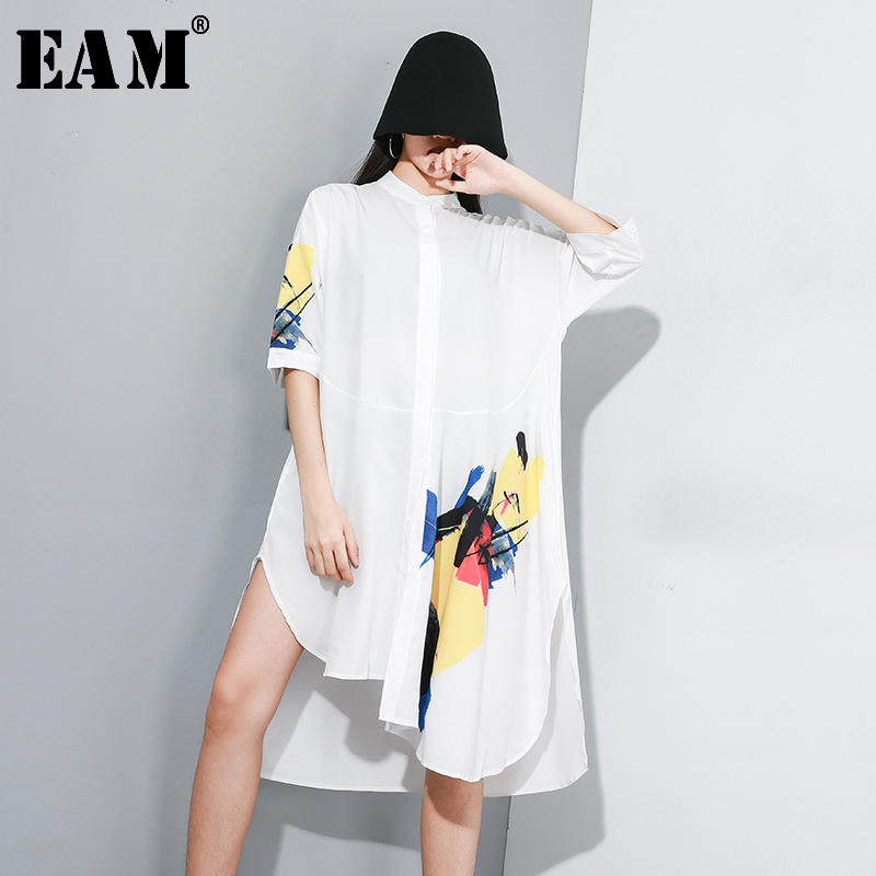 [EAM] Women Pattern Printed Asymmetrical Shirt Dress New Stand Collar Long Sleeve Loose Fit Fashion Spring Autumn 2020 JY352