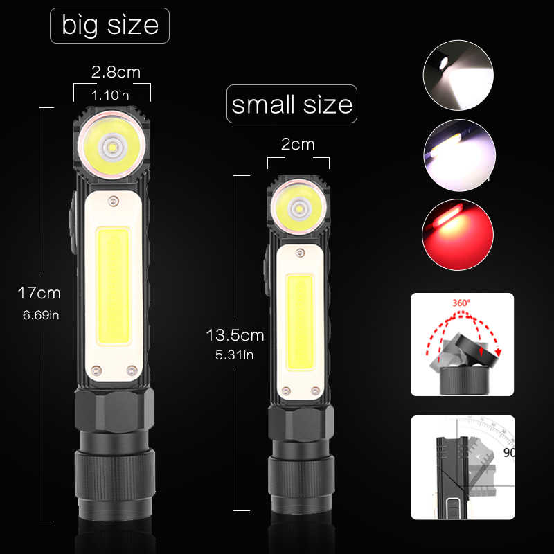 8000LM Led Flashlight Handfree Dual Fuel 90 Degree Twist Rotary Clip Waterproof Magnet Mini Lighting LED Torch Outdoor