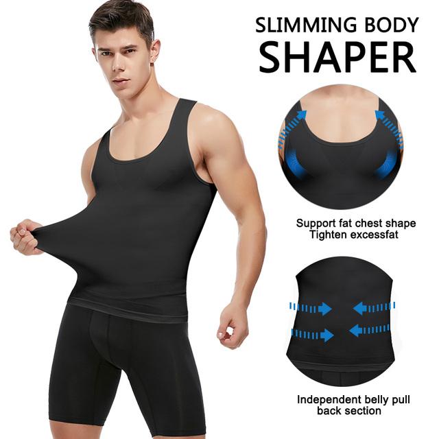 Mens Slimming Body Shaper Shapewear Abs Abdomen Compression Shirt to Hide Gynecomastia Moobs Workout Tank Tops Undershirts