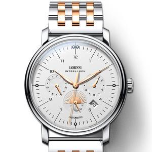 Часы LOBINNI мужские, швейцарские, механические, с кожаным ремешком