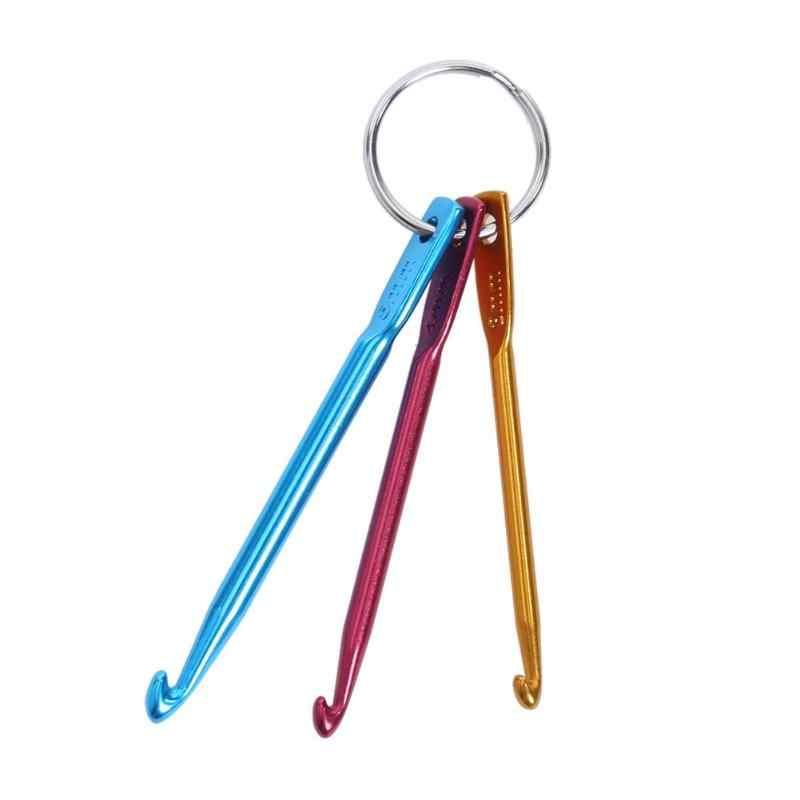 3 chiếc Nóng Hỗn Hợp Nhôm Kim Đan Móc Kim Multicolore Artigianato Móc Khóa Móc Khóa Uncinetto Anello Chiave