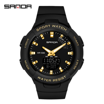 break men watch camera style stainless steel army military analog quartz date black watch men sport waterproof male clock man SANDA Men's Fashion Sport Watches Men Quartz Analog Date Clock Man Military Black Gold Waterproof Watch Relogio Masculino
