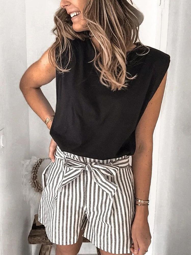 2020 Women za Fashion Solid 95% Cotton Shoulder pad T-shirt Vintage O-Neck Sleeveless Tops Casual Girls Streetwear 10