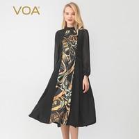 VOA silk 36 mmi heavy flow black satin stitched semi high collar tulip gold arch pin cow sleeve dress A10672