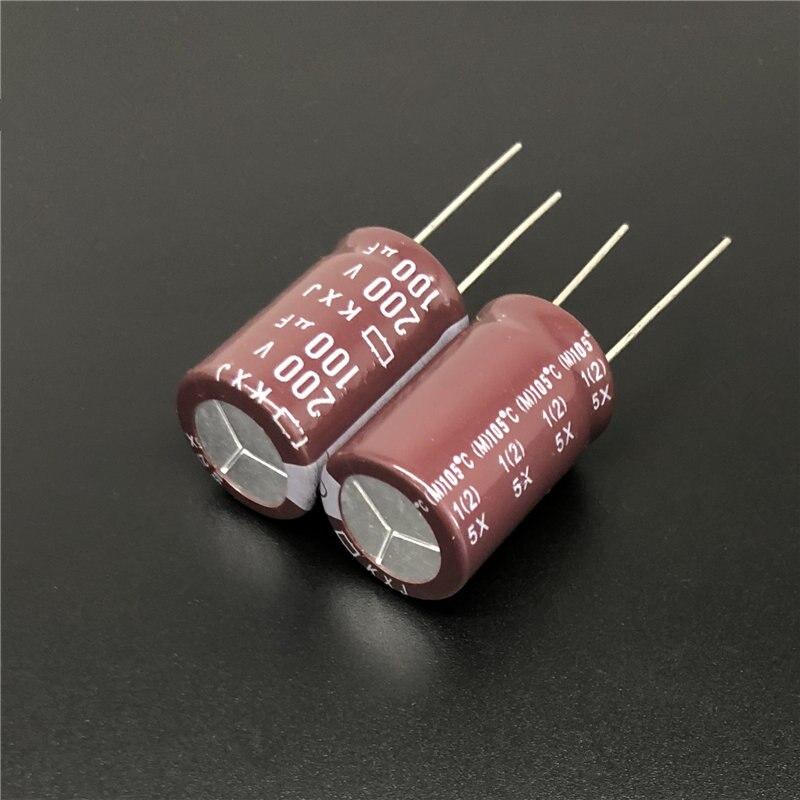 2Pcs/10Pcs 100uF 200V NCC KXJ Series 16x25mm Long Life High Reliability 200V100uF Aluminum Electrolytic Capacitor