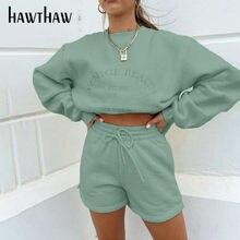 Hawthaw mujeres Otoño Invierno manga larga jersey con capucha pantalones cortos de dos piezas 2020 de ropa femenina ropa deportiva