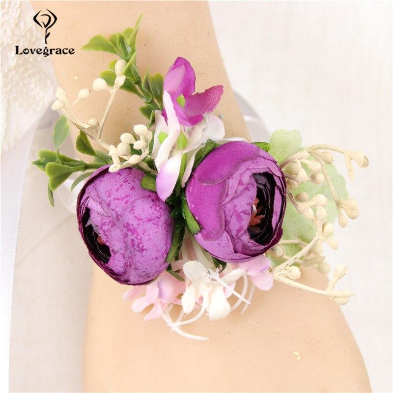 Artificial Silk Rose Flower Purple Groom Boutonniere Man Corsage Wrist Bracelet Bridesmaids Wedding Suit Boutonniere Party Decor