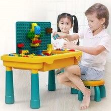 QWZ yeni çocuk aktivite masa büyük yapı taşları uyumlu Dupoled eğitici çocuk masası büyük blok oyuncaklar kız erkek