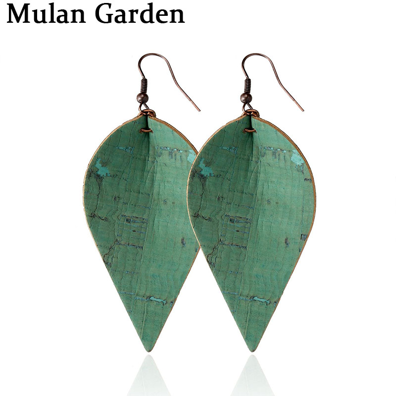 M&G 6 Colors New Wood Grain PU Leather Alloy Earrings Solid Color Fashion Leaf Earrings Simple Jewelry Women Accessories Gifts