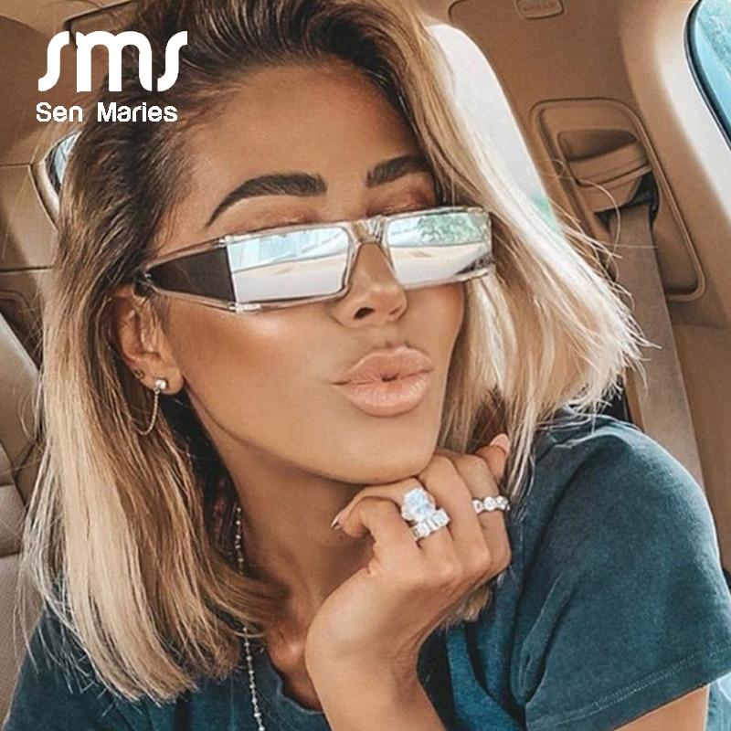Fashion Rectangle Small Sunglasses Women 2019 Luxury Brand Mirror Silver Black Clear Lens One Piece Punk Men Gafas Shades UV400