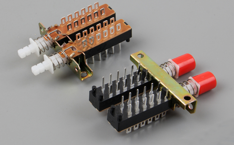 2pcs Interlock Push Button Switch Piano Type 4PDT 12 Pin 2 Row image