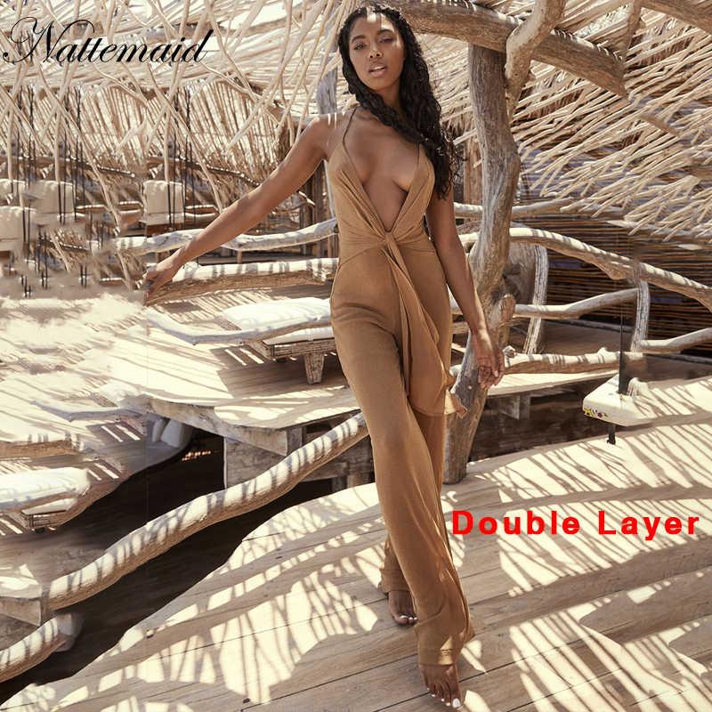 NATTEMAID блестящий сексуальный комбинезон женский s комбинезон летний без рукавов Длинный комбинезон женский комбинезон с поясом